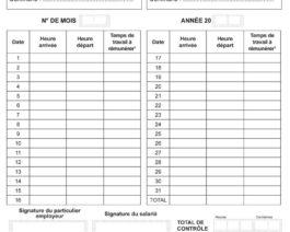 Fiche de travail mensuelle MANDATAIRE – Réf. 85-323