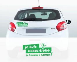 Stickers salariées pour véhicules «Je suis essentielle, je travaille à l'ADMR»- par lot de 10 – Réf.85-935