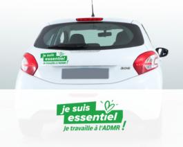 Stickers salariés pour véhicules «Je suis essentiel, je travaille à l'ADMR»- par lot de 10 – Réf.85-936